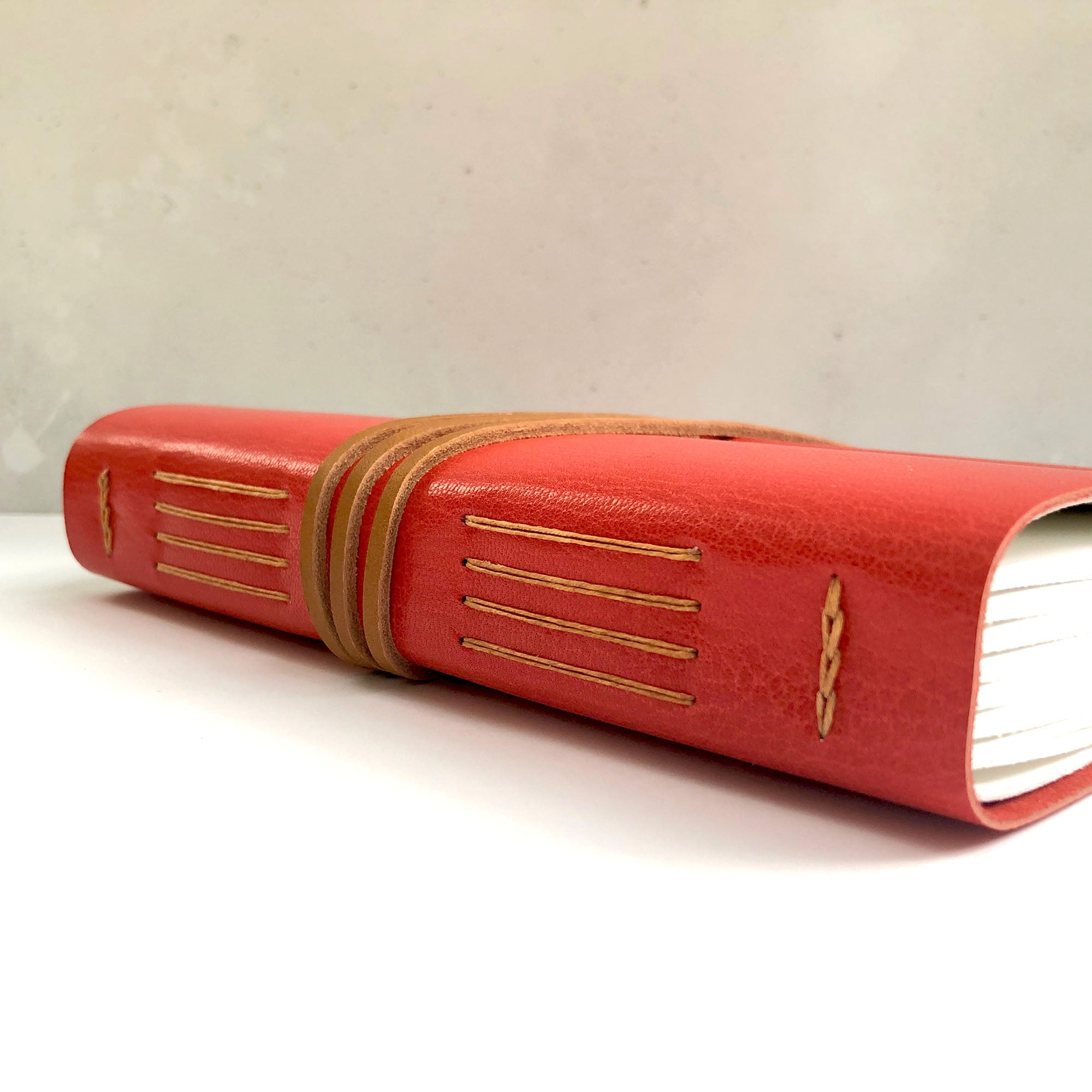 Spine of Journal in Red leather with Tan Longstitch binding, from Bound by Hand