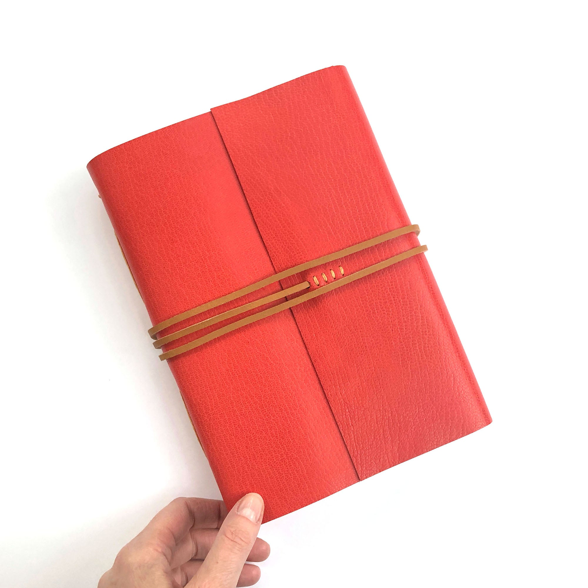 A5 Red Leather Journal, handmade quality notebook Bound by Hand in the UK