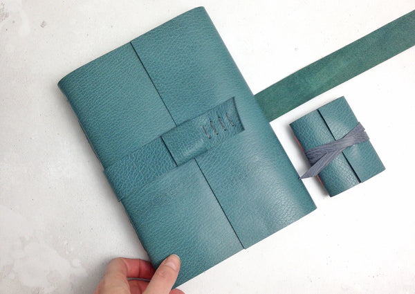 Bespoke Leather Journal handmade in Teal