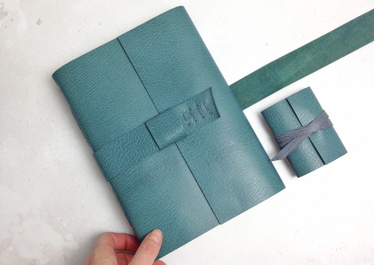 Personalised Leather Journal in Teal with Grey stitching, A5 portrait