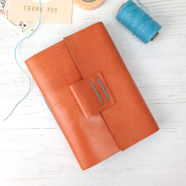 Peach and Aqua Leather Journal