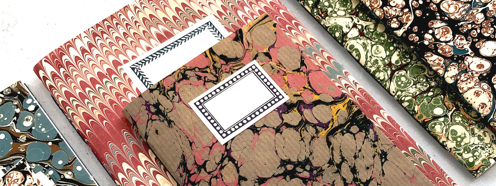 Marbled Notebooks with labels
