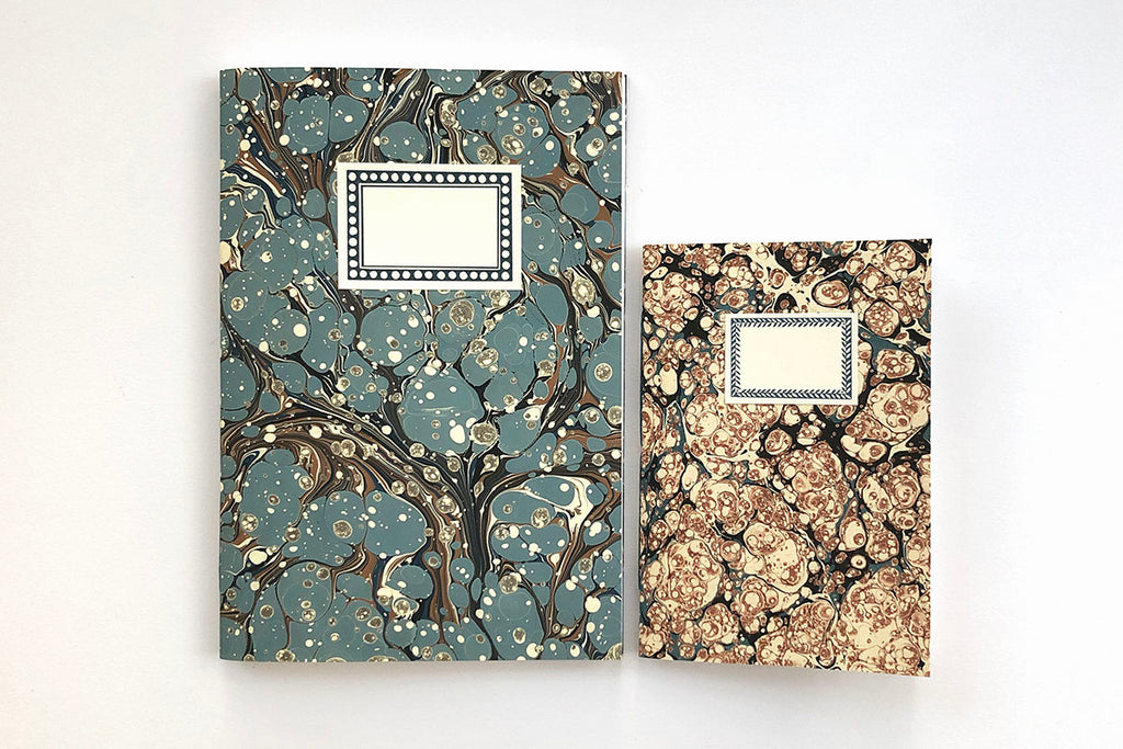 Blue Marbled Notebooks with labels - buy in the UK