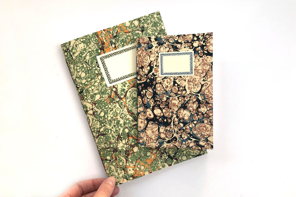 Marbled Notebooks: Green A5 and Blue A6