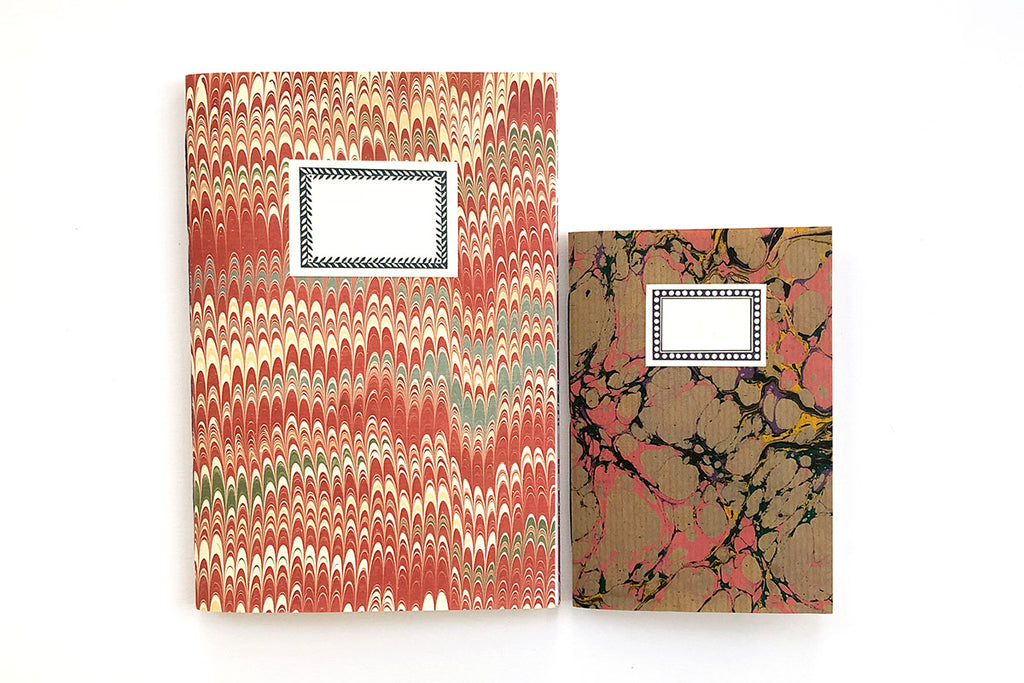 Marbled Notebook Pink A5 and A6 gift set
