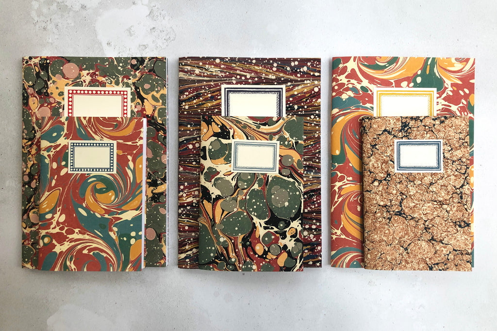 Marbled Notebook Christmas gift sets at Walford Mill in Wimborne, Dorset UK
