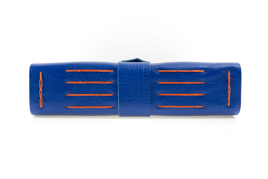 Leather bound Memory Book in Bright Blue and Orange, handmade in the UK