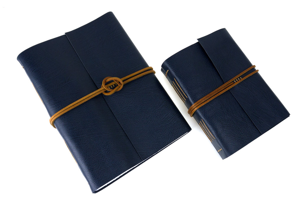 Blue and Tan Leather Hand Made Memory Book