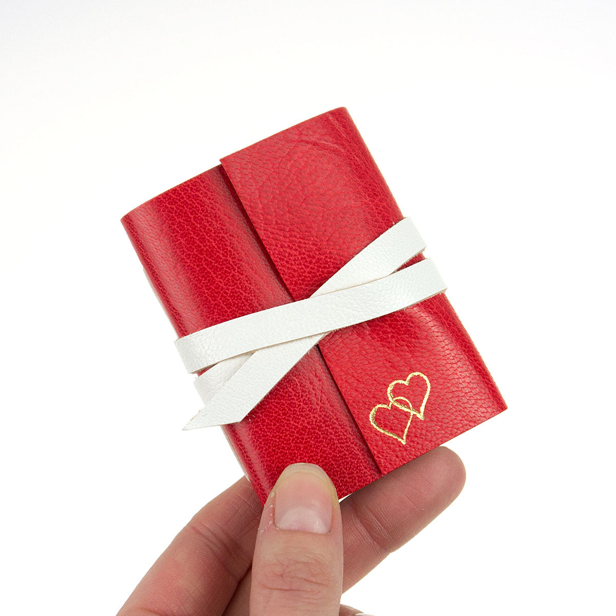 Valentine's Day gift Mini Leather Journal / Notebook with gold love hearts