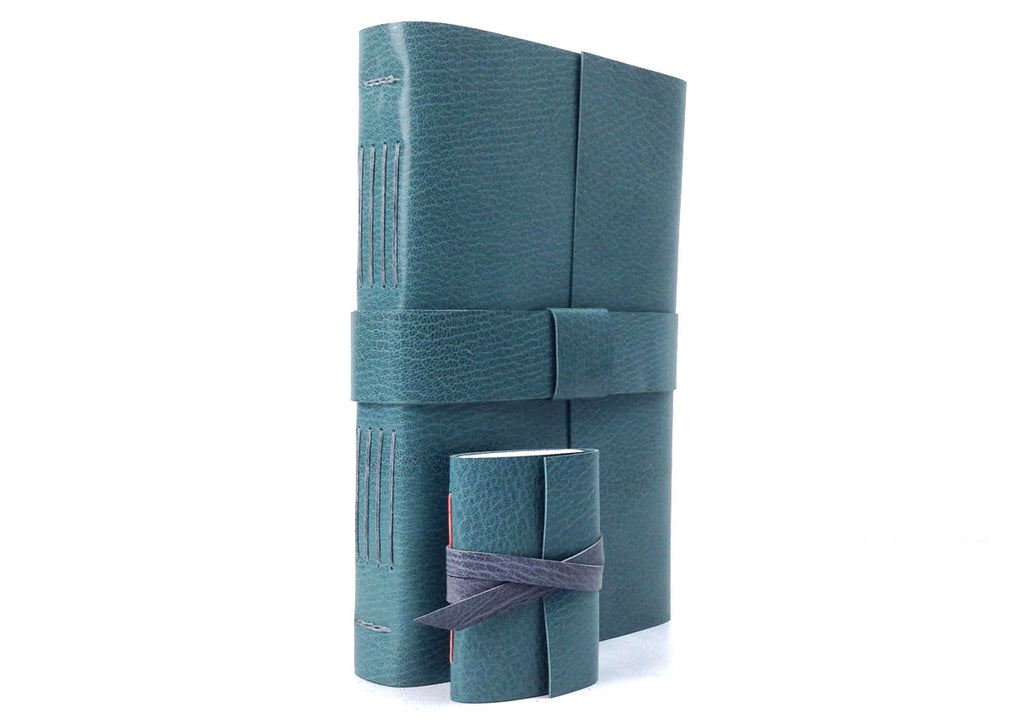 Teal and Grey Leather Longstitch Journal Bound By Hand