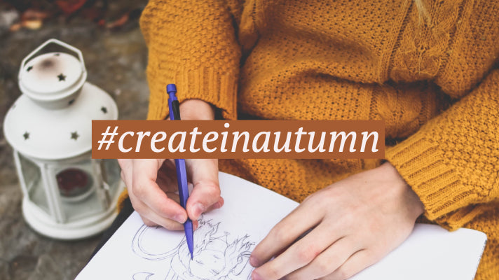 #createinautumn hashtag with illustration and mustard jumper