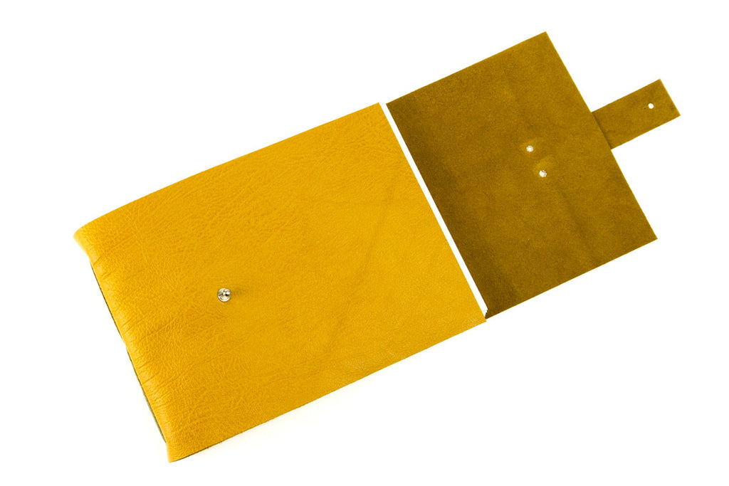 Mustard and Olive Leather Sketchbook with watercolour paper for artists