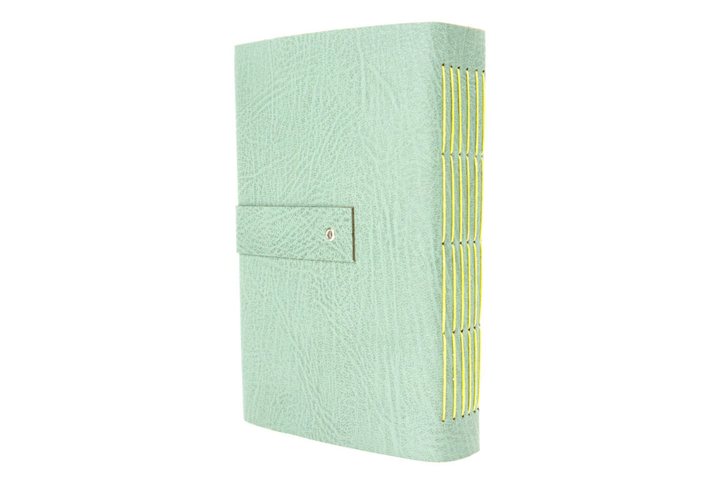Mothers Day Gift: Leather Sketchbook in Duck Egg and Sherbet Lemon