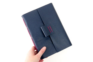 Leather Watercolour Sketchbook with Magenta Longstitch binding