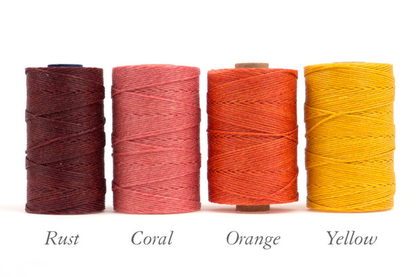 Rust, Coral, Orange, Yellow Irish linen thread for bespoke books