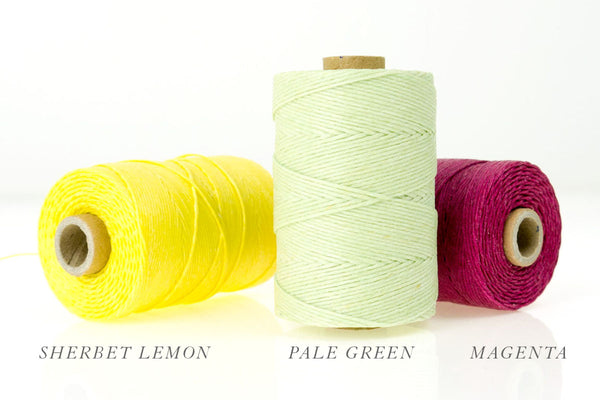 Thread Colours for Bespoke Handmade Books: Sherbet, Pale Green, Magenta