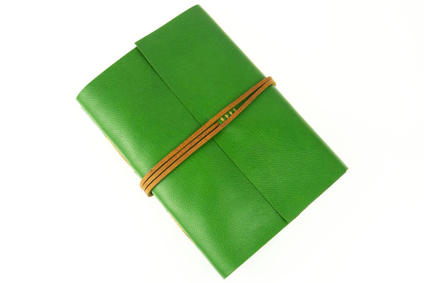 Travel Journal Hand Made in Green Leather