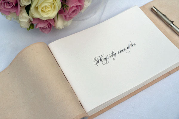 Personalised Wedding Guest Book with Ornate font.