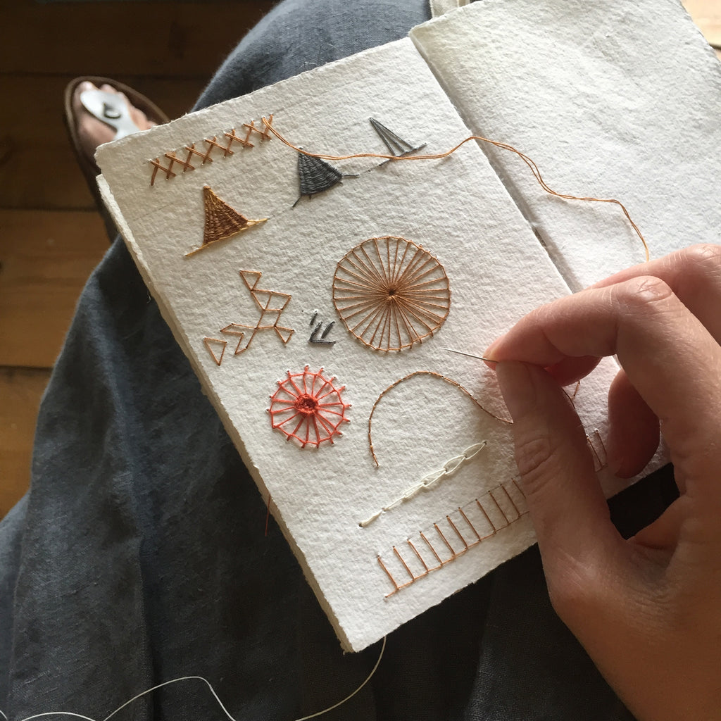 Stitching in cotton rag sketchbook from Bound by Hand