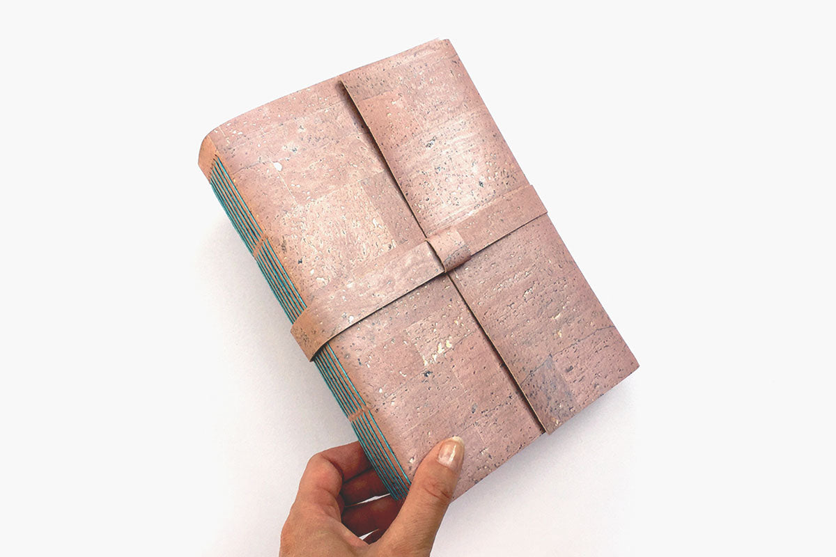 Cork Vegan Sketchbook, A5 medium size in Pink and Turquoise