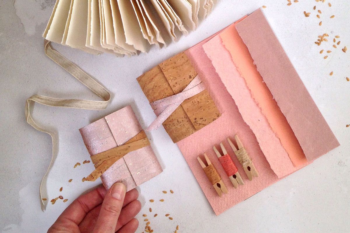Rose Gold Notebook, Mini Journal handmade in ethical, vegan cork textile