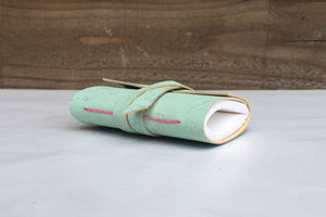 Mint Green Mini Journal with Hot Pink stitching and tie to close