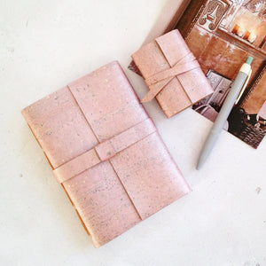 A6 and Mini Journals bound in Rose Gold Cork, with a pen and handmade envelope