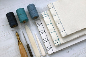 Japanese Stab Stitch Sketchbook bound by hand with cotton rag khadi paper