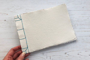 Noble in Turquoise: Japanese Stab Stitch Sketchbook handmade with cotton rag paper