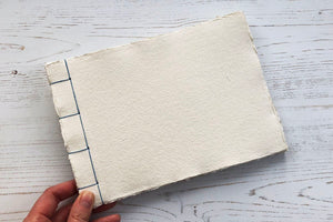 Japanese Stab Stitch Sketchbook with handmade cotton rag paper
