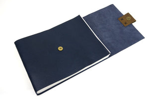 A4 Large Leather Sketchbook: Blue & Brown with cartridge paper
