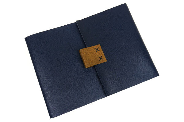 Leather Sketchbook: Blue & Brown with cartridge paper