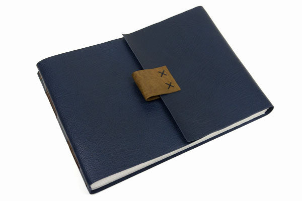 Large Leather Sketchbook: Blue & Brown with cartridge paper