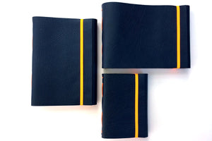 Three Blue and Orange Leather Sketchbooks: A5 medium portrait and landscape, with A6 portrait