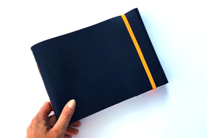 Leather Sketchbook in Blue and Orange at A5 medium landscape size