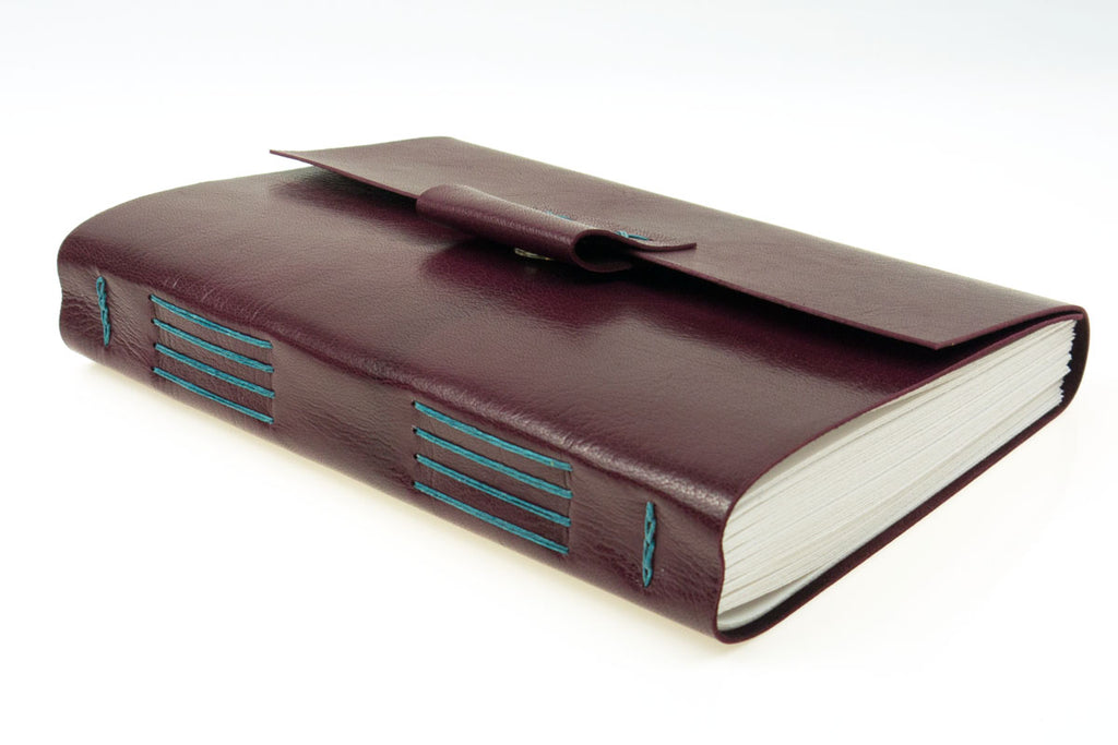 A5 portrait work journal hand made in maroon leather