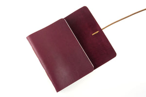 A6 Leather Journal: Maroon & Tan with marbled endpapers