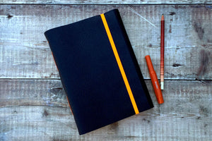 A5 or A6 Leather Sketchbook: Navy Blue & Orange with cartridge paper