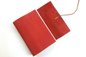 Red Leather Journal or Notebook bound by hand in the UK