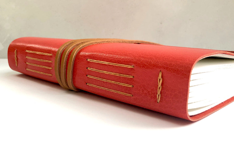 A5 Leather Journal: Red & Tan