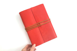 Leather Journal or Notebook in Red and Tan A5 portrait size