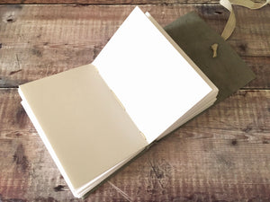 A6 Leather Sketchbook with recycled cartridge paper pages - eco friendly art journal