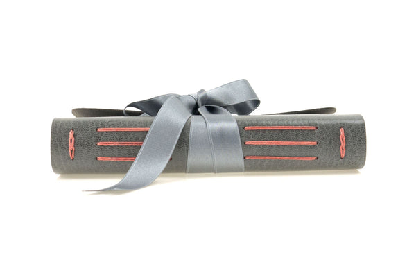 Leather Journal: Grey & Coral with silk ribbon