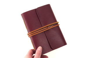 A6 Small Maroon and Tan Leather Bound Journal or Notebook handmade in England