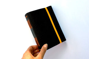Leather Sketchbook A6 small Navy and Orange handmade with cartridge paper