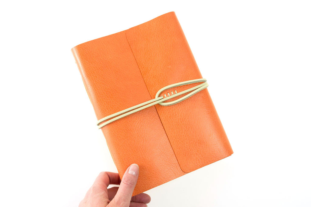 Journal or Notebook hand made in Orange leather