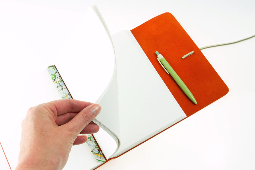 Leather Journal / Sketchbook: Peach & Pale Green