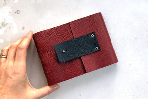Leather Watercolour Sketchbook handmade in best quality Crimson leather