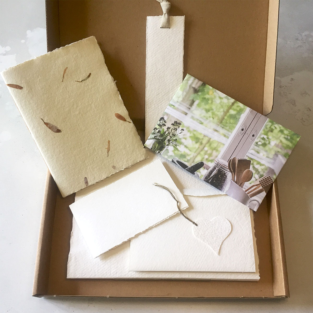 Cotton Rag Concertina Sketchbook, Notebook, plus handmade envelope, bookmark and gift tag.