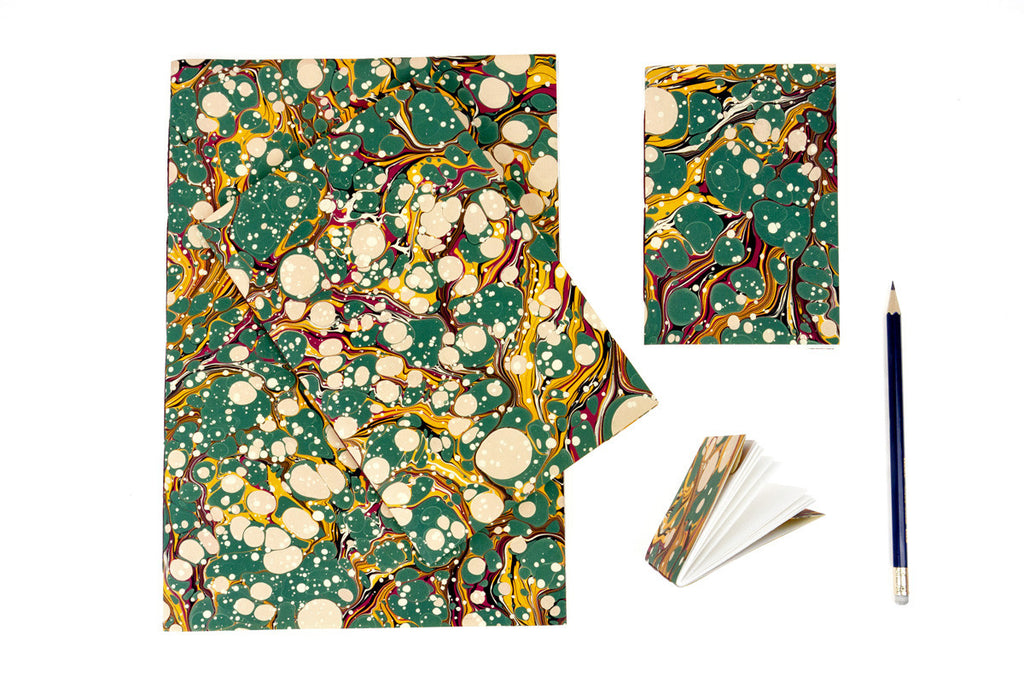 Green Spot Hand Marbled Notebooks